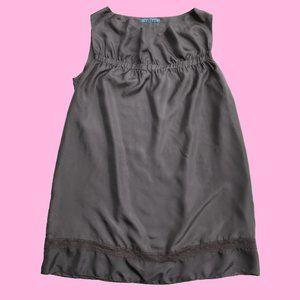 Taupe Silk Sheath Casual Dress
